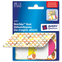 Avery NoteTab Book of Repositionable Labels 51x38mm Squares Yellow and Pink Ref 8366 [20 Labels]