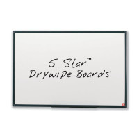 5 Star Office Drywipe Non-Magnetic Board with Fixing Kit and Detachable Pen Tray W600xH450mm