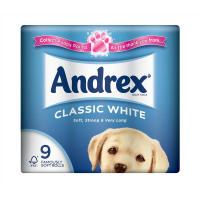 Andrex Toilet Rolls Classic Clean 2-Ply 124x103mm 200 Sheets White Ref 1102055 [Pack 9]