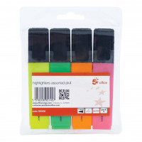 5 Star Office Highlighter Chisel Tip 1-5mm Line Wallet Assorted [Pack 4]