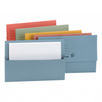 5 Star Office Document Wallet Half Flap 250gsm Recycled Capacity 32mm Foolscap Assorted [Pack 50]