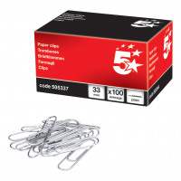 5 Star Office Paperclips Metal Large Length 33mm Plain [Pack 100]