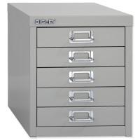 Bisley Multidrawer Cabinet Non-locking 5-Drawer W279xD408xH325mm Goose Grey Ref 12/5
