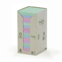 Post-it Notes Pad Recycled Tower Pack 76x76mm Pastel Rainbow Ref 654-1RPT [Pack 16]