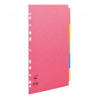 Concord Bright Subject Dividers 5-Part Card Multipunched 160gsm A4 Assorted Ref 50699