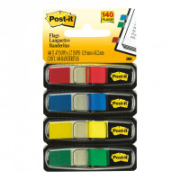 Post-it Small Index Flags Repositionable W12.5xH43mm Standard Colours Ref 683-4 [Pack 140]