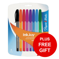 Paper Mate InkJoy 100 Ballpoint Pen Blue Ref S0957130 [Pack 50] [8 Assorted FREE] Jan-Dec 2019