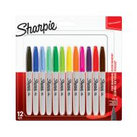 Sharpie Permanent Marker Fine Tip 0.9mm Assorted Ref 2065404 [Pack 12]