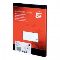5 Star Office Multipurpose Labels Laser Copier Inkjet 14 per Sheet 105x42mm White [1400 Labels]