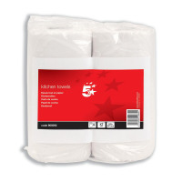 5 Star Facilities Kitchen Towels Twinpack 2-Ply Sheets 55 per Roll White [Pack 2]
