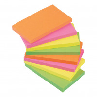 5 Star Office Re-Move Notes Repositionable Neon Pad of 100 Sheets 76x127mm Assorted [Pack 12]