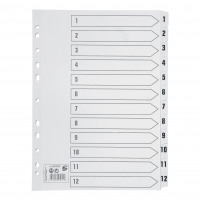 5 Star Office Index 1-12 Multipunched Mylar-reinforced Strip Tabs 150gsm A4 White
