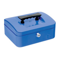 5 Star Facilities Cash Box with 5-compartment Tray Steel Spring Lock 8 Inch W200xD160xH70mm Blue