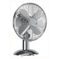 5 Star Facilities Desk Fan 12 Inch 90deg Oscillating 48.5Db 3-Speed 45 Watts H425mm Dia.305mm Chrome