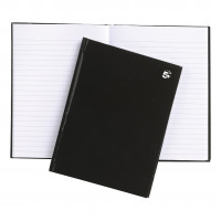 5 Star Office Notebook Casebound 80gsm Ruled 160pp A5 Black [Pack 5]