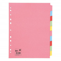 5 Star Office Subject Dividers 10-Part Recycled Card Multipunched Extra Wide 155gsm A4 Assorted [Pack 10]