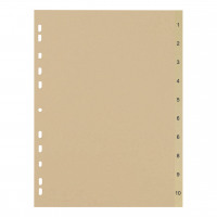 5 Star Eco Index 1-10 Recycled Card Multipunched 150gsm A4 Buff