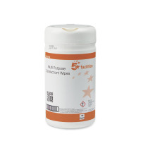 5 Star Facilities Multipurpose Disinfectant Wipes Anti-bacterial 23gsm 13x13cm [Tub 150 Sheets]