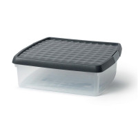 5 Star Elite Storage Clip Box Plastic Stackable with Lid 13.2 Litre Clear