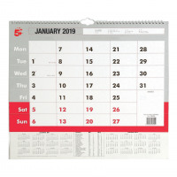 5 Star Office 2019 Wall Calendar Month to View Wirebound 135gsm Paper A3 297x420mm White/Red