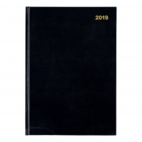 5 Star Office 2019 Two Pages to a Day Casebound and Sewn Vinyl Coated Board A4 297x210mm Black