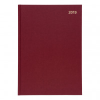 5 Star Office 2019 Diary Day to Page Casebound and Sewn Vinyl Coated Board A4 297x210mm Red