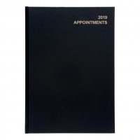 5 Star Office 2019 Appointment Diary Day to Page Casebound and Sewn Vinyl Coated Board A4 297x210mm Black