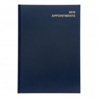 5 Star Office 2019 Appointment Diary Day to Page Casebound and Sewn Vinyl Coated Board A4 297x210mm Blue