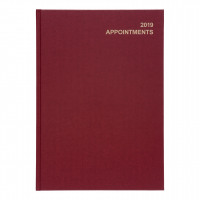5 Star Office 2019 Appointment Diary Day to Page Casebound and Sewn Vinyl Coated Board A4 297x210mm Red