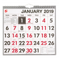 5 Star Office 2019 Wall Calendar Month to View Wirebound 135gsm Paper 249x231mm White/Red