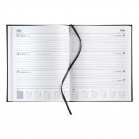 5 Star Office 2019 Quarto Diary Week to View Casebound and Sewn Vinyl Coated Board 220x270mm Black