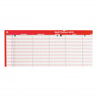 5 Star Office 2019 Staff Planner Mounted Landscape with Planner Kit 915x610mm Red