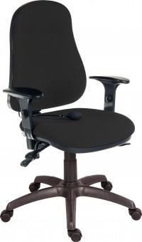 Teknik Office Ergo Comfort Black Fabric High Back Executive Operator Chair Pump Up Lumbar Support Comfort Arm Rests Optional