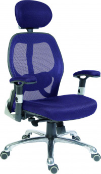 Teknik Office Cobham Blue Executive Chair Breathable Mesh Backrest And Matching Height Adjustable Padded Armrests