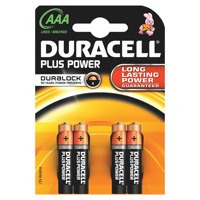 Duracell Standard Alkaline Batteries AAA Packed 4 Ref MN2400 +/PWR S3584 PK4