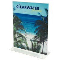 Deflect-o Stand-Up Sign Holder Double Sided Portrait A4 Clear Ref 47801 Each