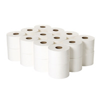 2Work 2-Ply White Micro Twin Toilet Roll 125m (Pack of 24) 2W06439
