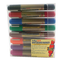Artline Assorted 2-in-1 Whiteboard Markers Bullet/Chisel Tip (Pack of 8) EK525TA