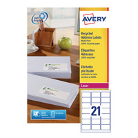Avery Recycled Laser White Address Label 63.5 x 38.1mm 21 Per Sheet Pack of 2100 LR7160-100