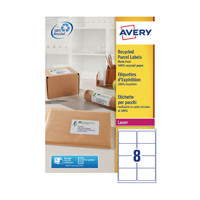 Avery Recycled Laser White Parcel Label 99.1 x 67.7mm 8 Per Sheet Pack of 800 LR7165-100
