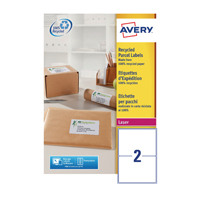 Avery Recycled Laser White Parcel Label 199.6 x 143.5mm 2 Per Sheet Pack of 200 LR7168-100
