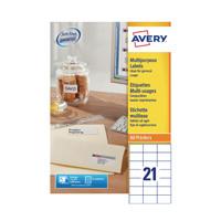 Avery Multipurpose White Labels 21 Per Sheet Pack of 2100 3652