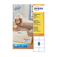 Avery Multipurpose White Labels 8 Per Sheet Pack of 800 3427