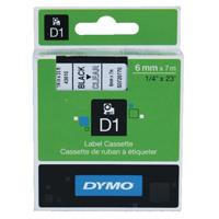 Dymo Black on Clear 1000/5000 D1 Standard Tape 6mmx7m S0720770