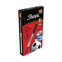Sharpie Black Permanent Marker Fine (Pack of 12) S0810930