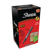 Sharpie Black W10 Permanent Chisel Tip Marker (Pack of 12) S0192652