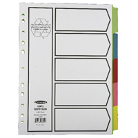 Concord Recycled A4 Dividers 5 Part Pastel 48099