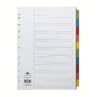 Concord Recycled A4 Dividers 10 Part Pastel 48199