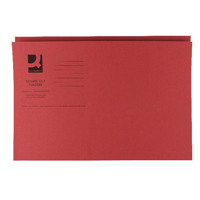 Q-Connect Red Square Cut Folder Medium Weight 250gsm Foolscap (Pack of 100) KF01186
