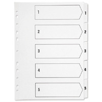 Q-Connect Index A4 Multi-Punched 1-5 Polypropylene White Pack of 1 KF01352